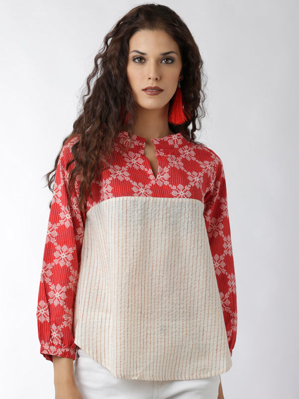 Red Printed Yoke & Sleeves Top