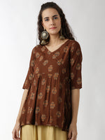 Breya Ethnic Show-Wrap Printed Brown Top