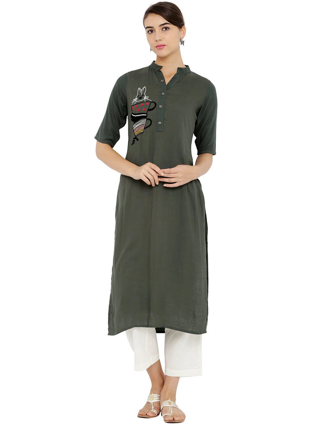 Breya Embroided Green Straight Kurta