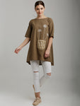 Breya Brown Checkered Placement Embroidery Tunic