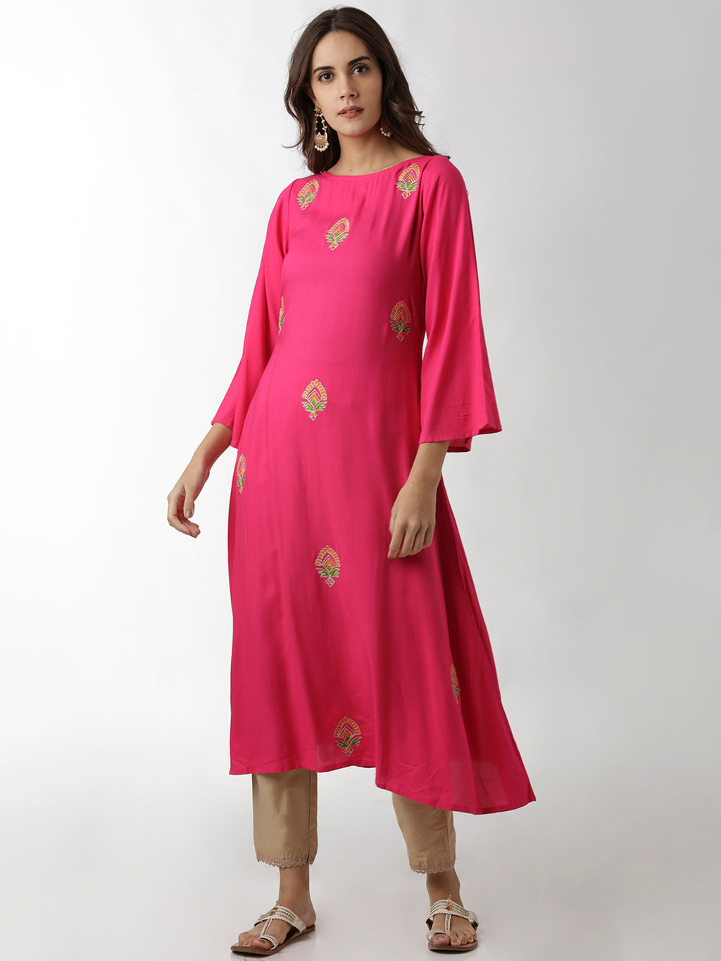 Breya Boat Neck Embroidered A-Line Magenta Kurta