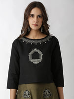 Breya Embroidered Black Solid Cropped Top