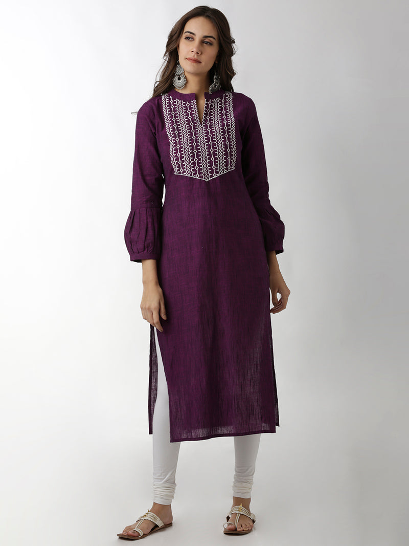 Neck Embroidered Purple Kurta