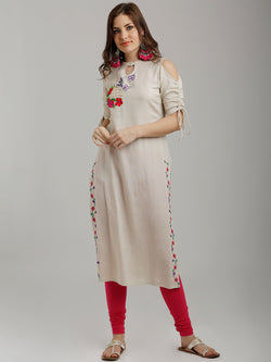 Off White Embroidered Cold Shoulder Sleeves Kurta
