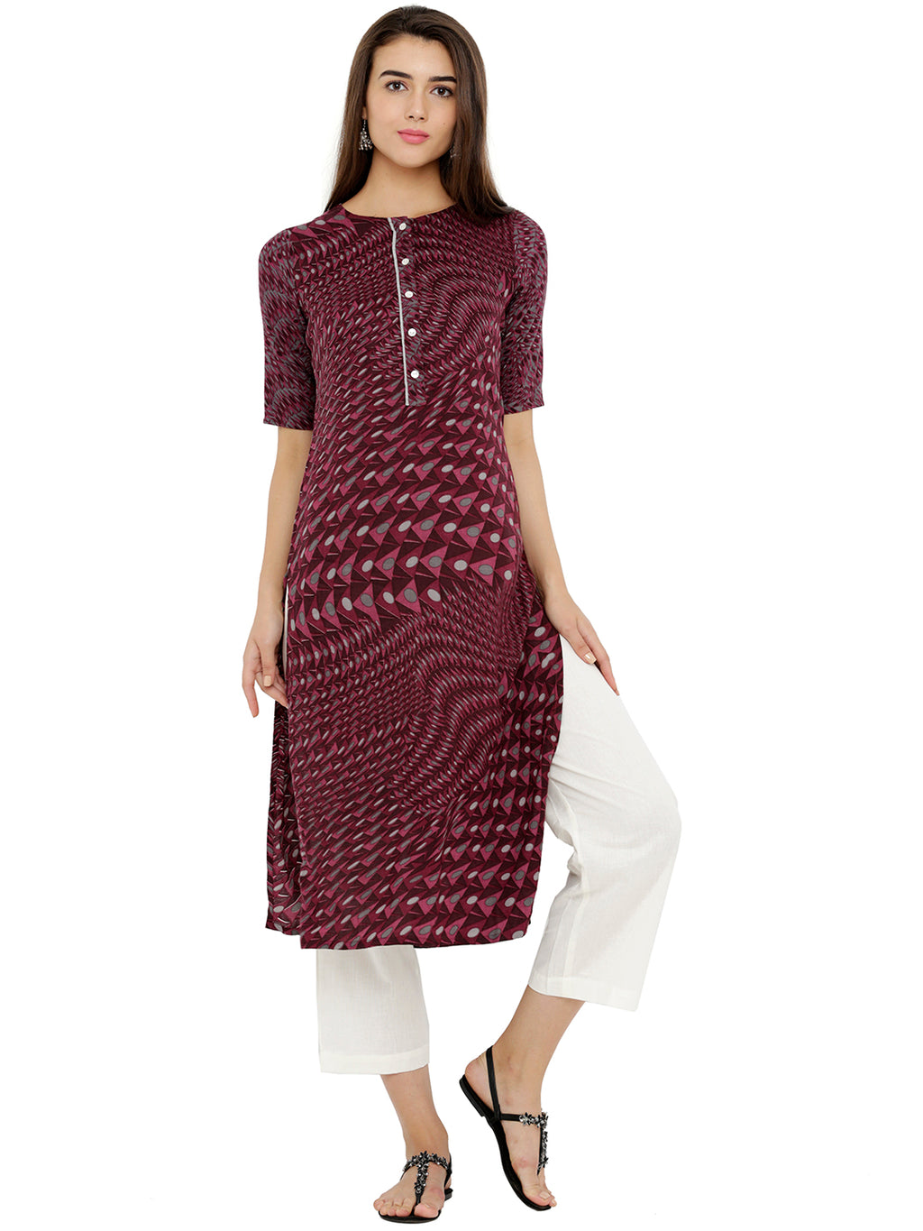 Breya Abstract Print Straight Kurta