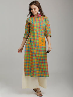 Multicolored Pocket Patch Embroidered Checks Kurta