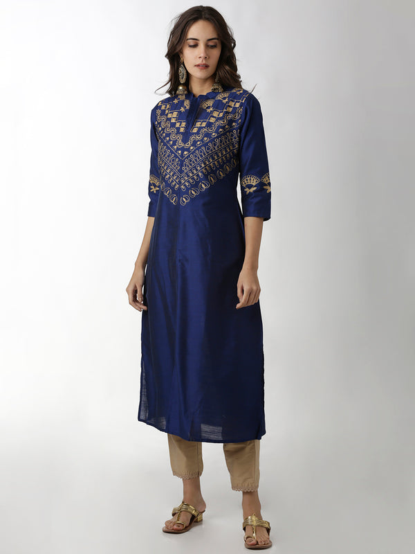 Navy Blue Embroidered Kurta