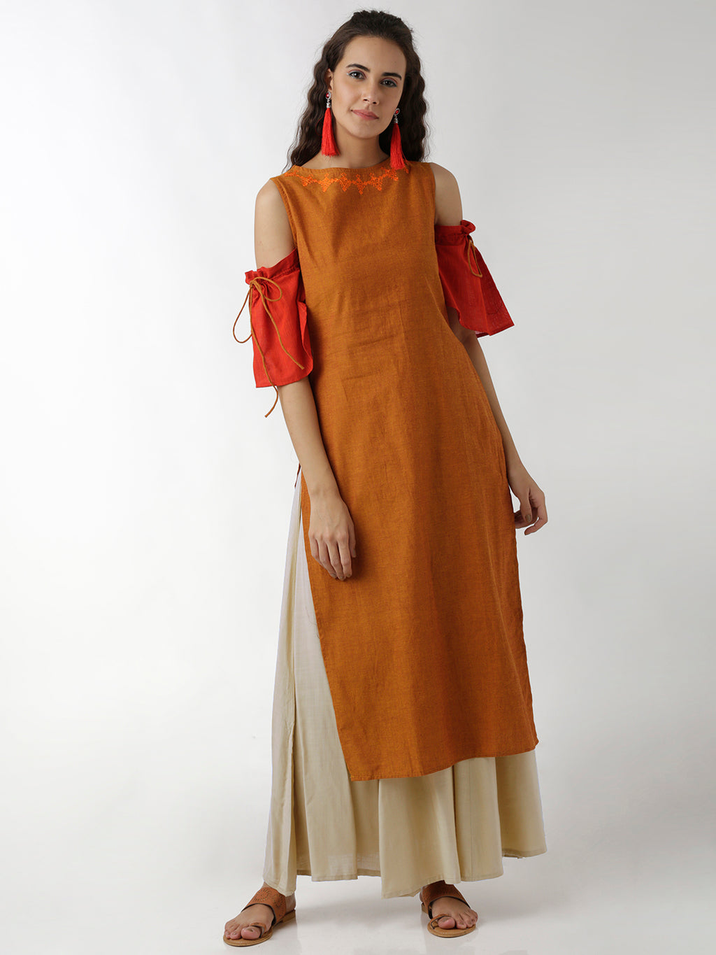 Breya Cold Shoulder Embroidered Neck Rust Straight Kurta