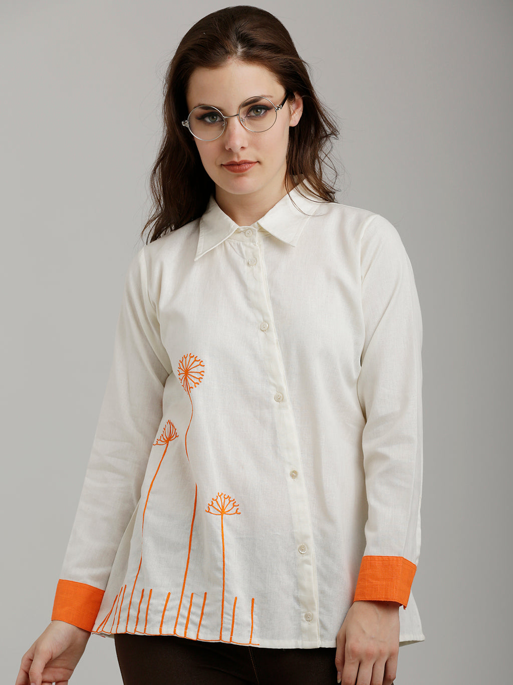 Breya Embroidered Asymmetric Placket And Contrast Cuffs Shirt