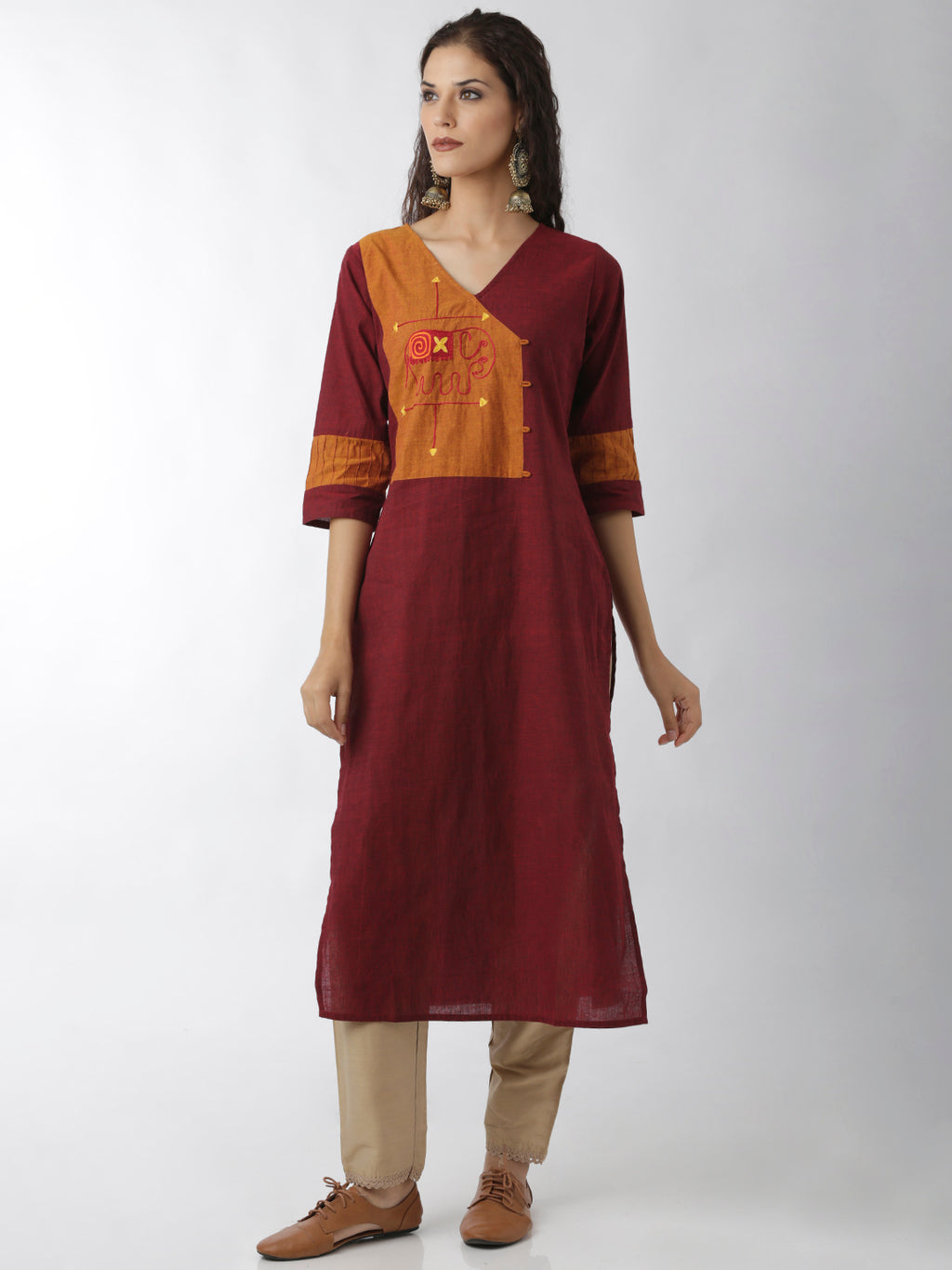 Breya Show Overlap Statement Neck Embroidered Straight Maroon Kurta