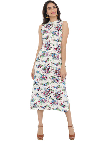 Breya White Floral Print Dress