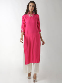 Embroidered Magenta Straight Kurta