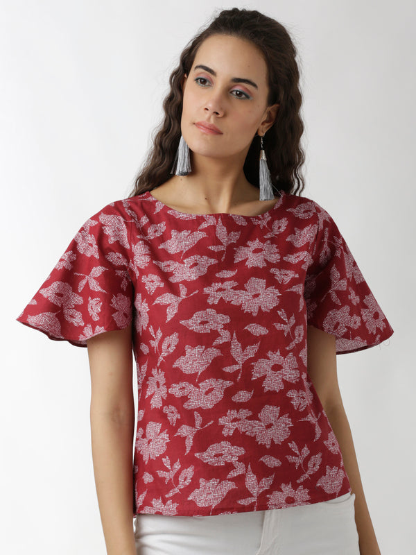Maroon Floral Printed Short Top