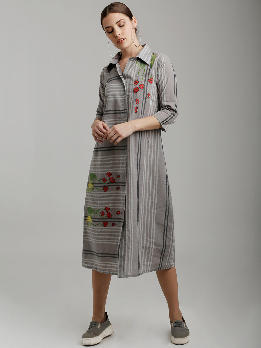 Breya Midi Asymmetric Floral Embroidered Tunic Dress