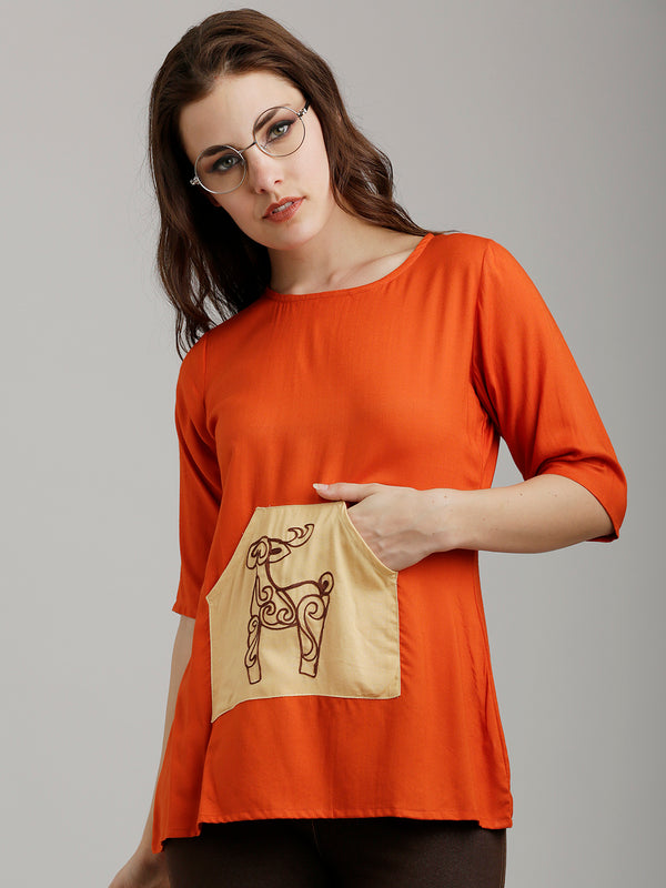 Orange Kangaroo Pocket Top