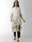 Breya Statement Neck Embroidered Front Slit A-Line White Kurta