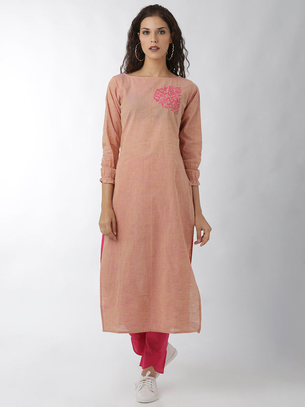 Statement Sleeve Embroidered Peach Straight Kurta