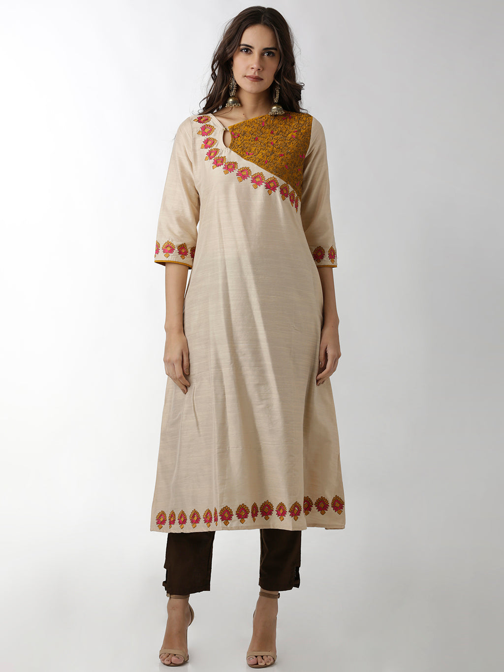 Breya Embroidered Cream And Yellow A-Line Kurta