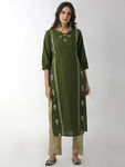 Breya Statement Neck Embroidered Solid Green Straight Kurta