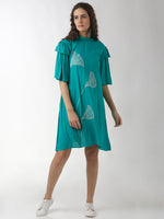 Breya Floral Embroidered A-Line Solid Turquoise Dress