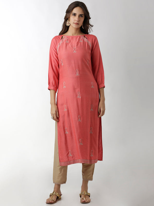 Embroidered Peach Straight Kurta