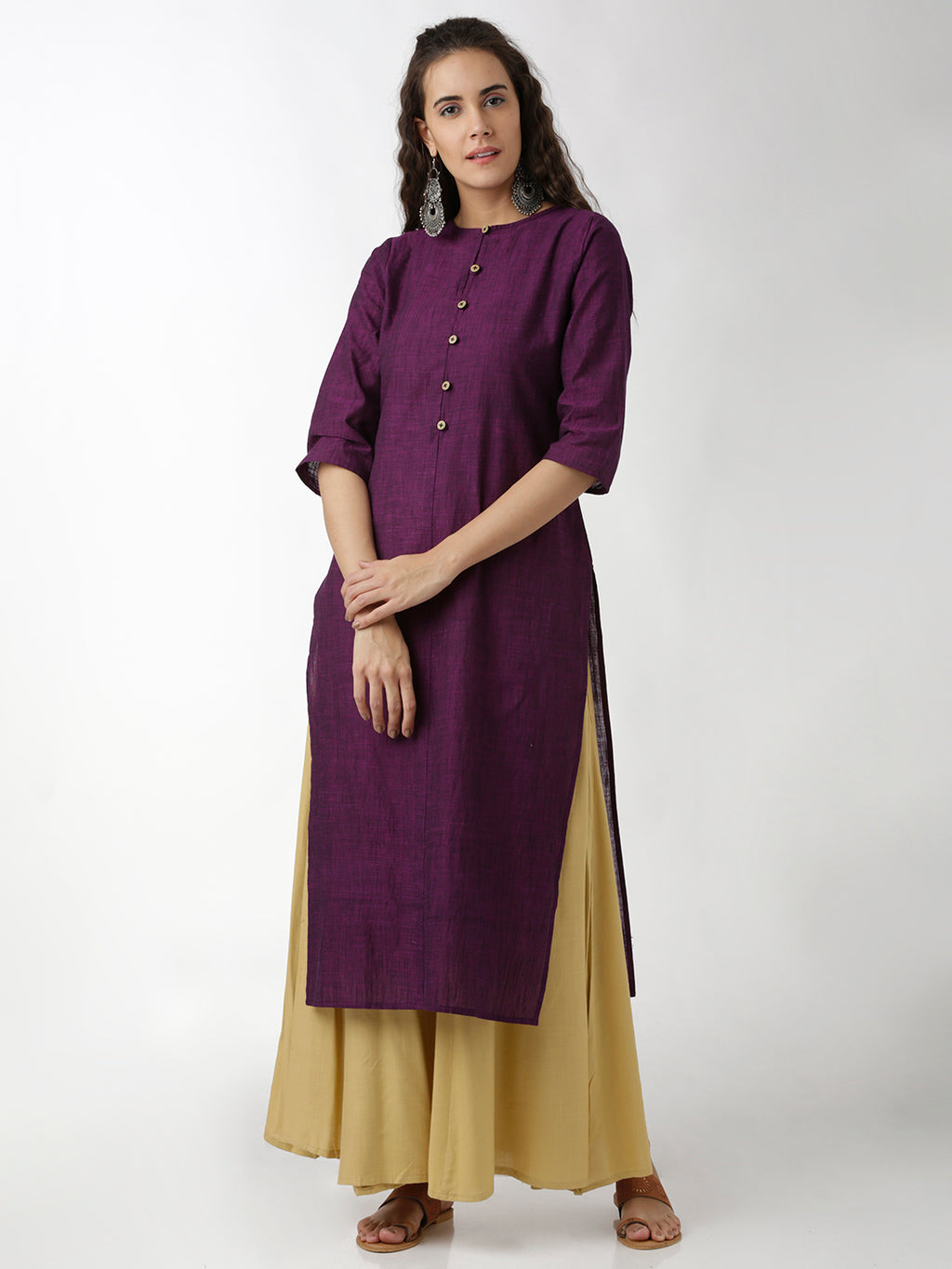 Breya Simple Round Neck Purple Straight Kurta