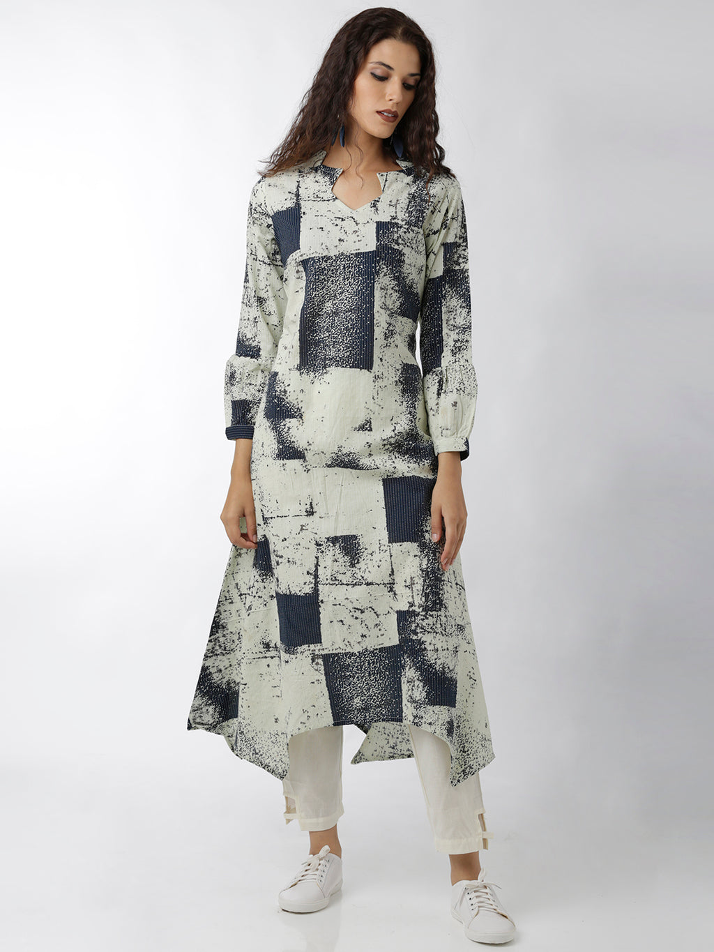 Breya Statement Sleeves And Neck Printed Navy Blue A-Line Kurta