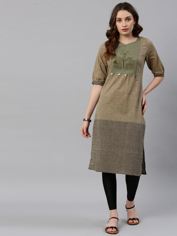 Mud Green Embroidered Kurta