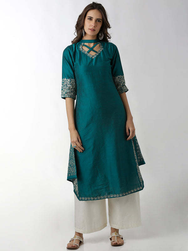 Layered Panel Teal Straight Kurta