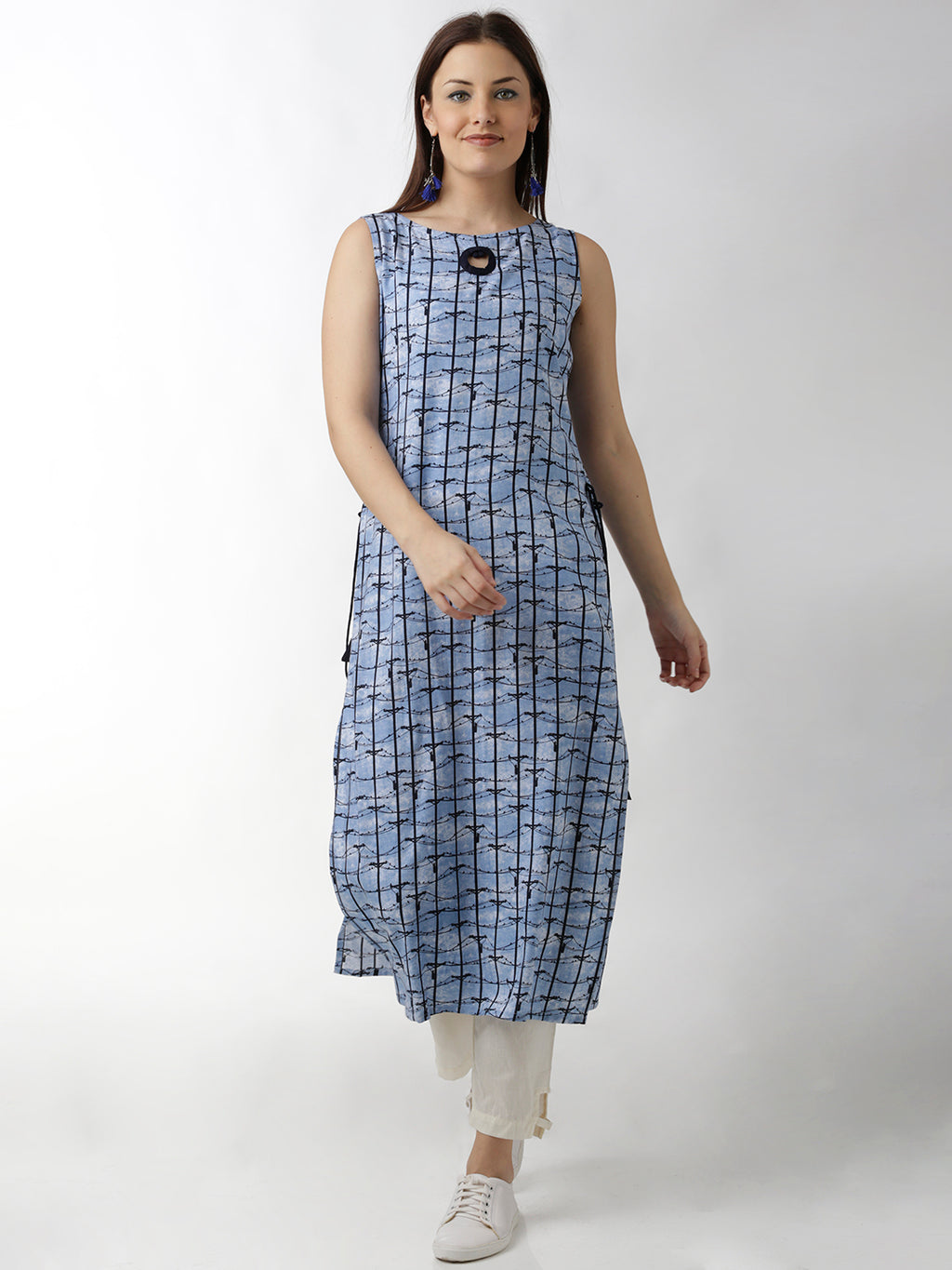 Breya Statement Neck Sleeveless Navy Blue Printed Straight Kurta