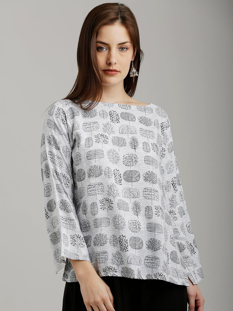Printed Grey Slit Sleeved Top