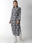 Breya City Scape Printed Navy Blue Straight Kurta