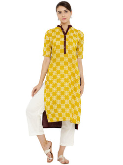 Printed Yellow Kurta
