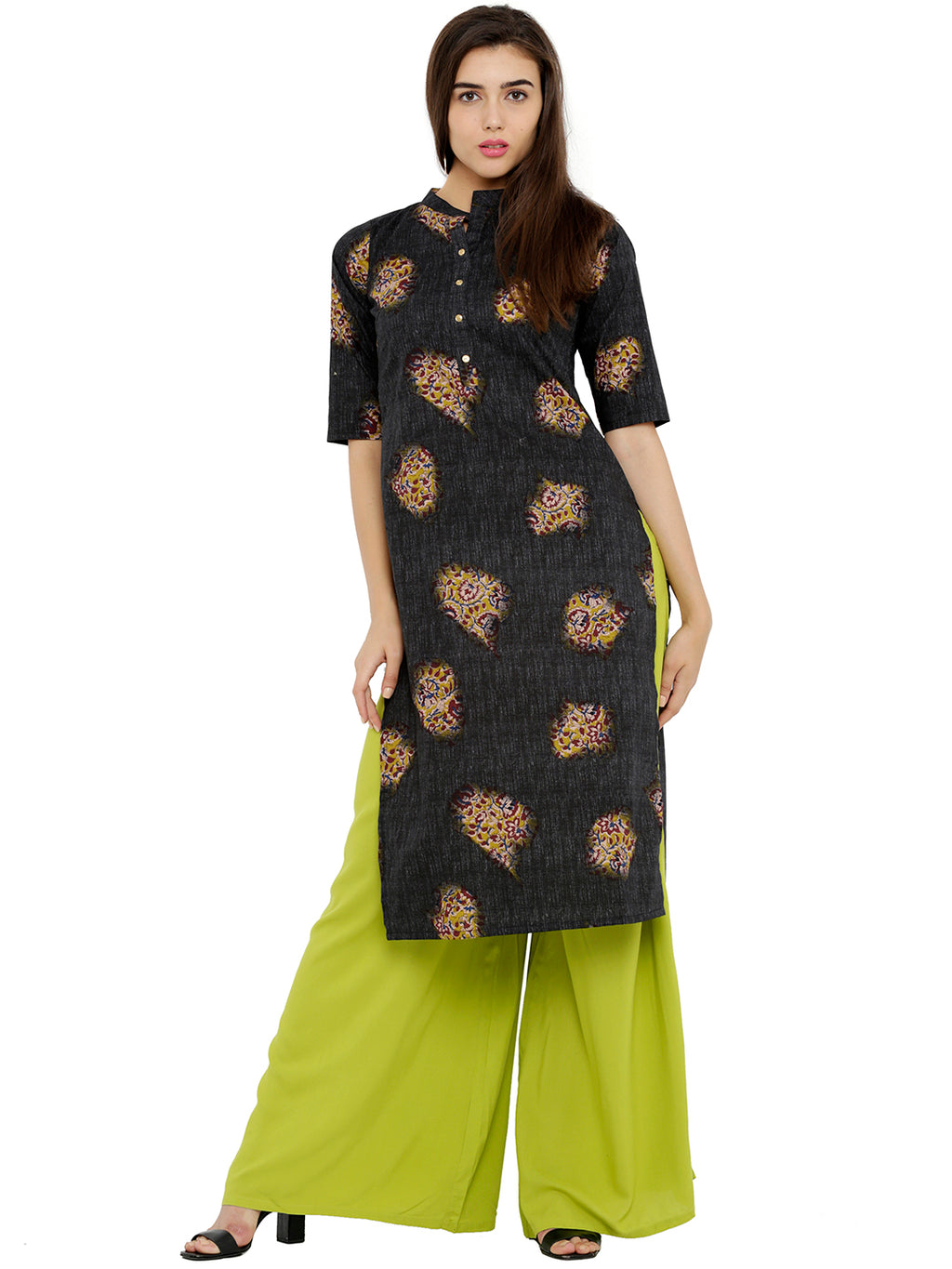 Breya Printed Black Straight Kurta