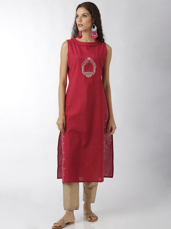 Embroidered Magenta Kurta