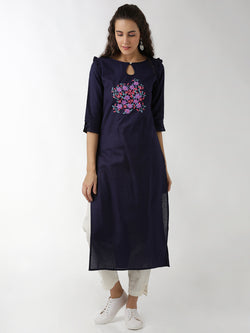 Navy Blue Straight Kurta