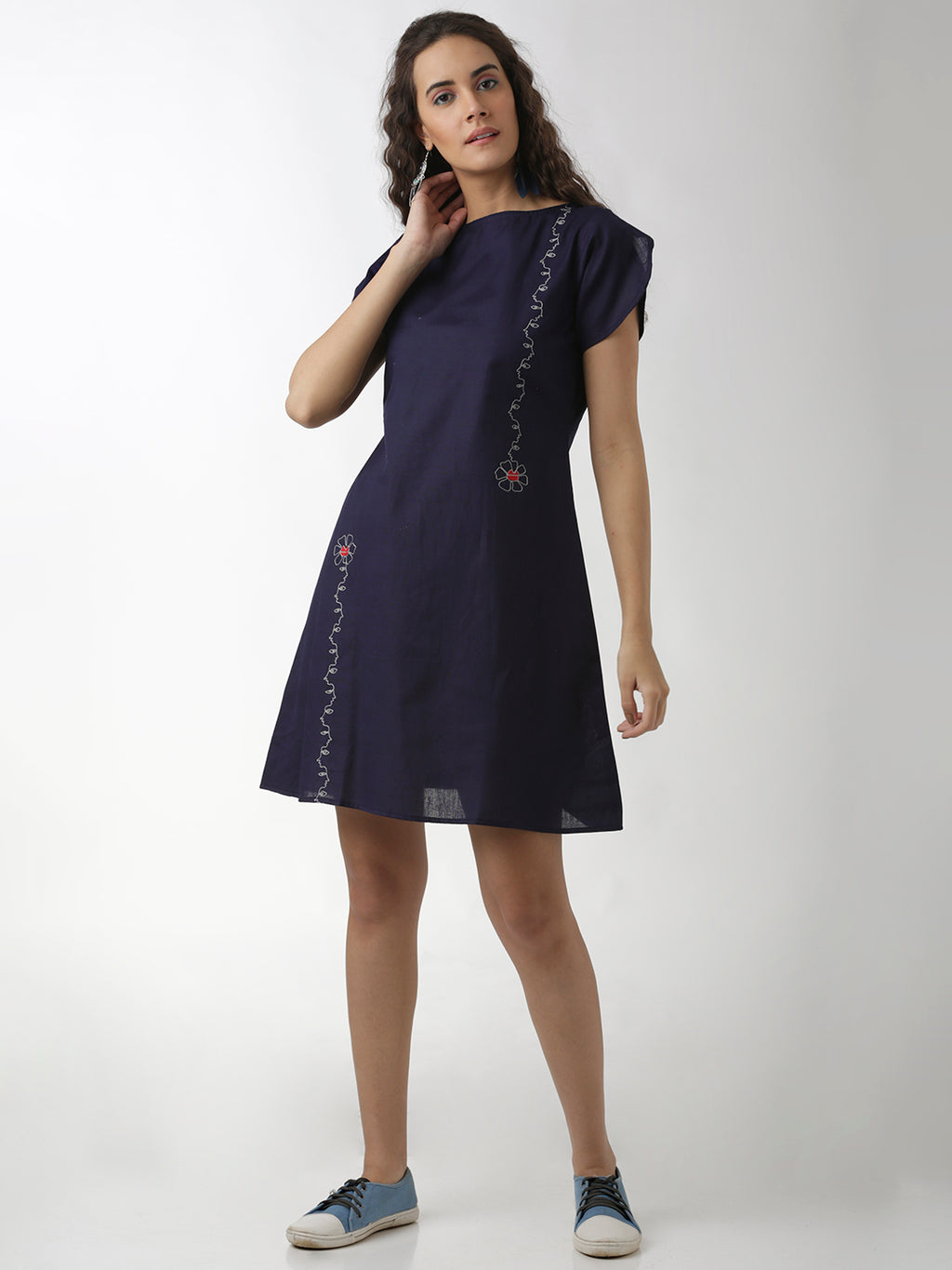 Breya Navy Blue A-Line Embroidered Dress