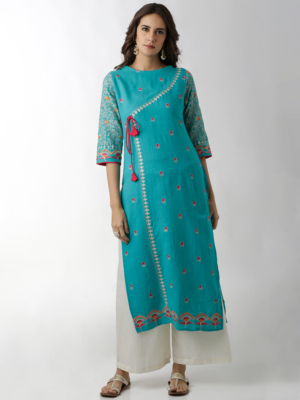 Breya Show Overlap Boat Neck Light Blue Embroidered Straight Kurta