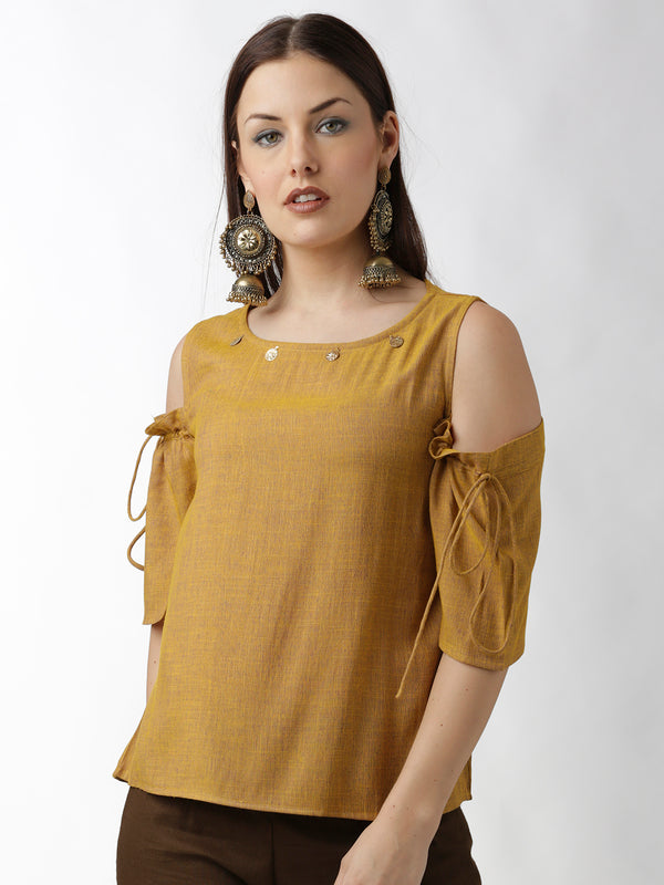Cold Shoulder Solid Yellow Top