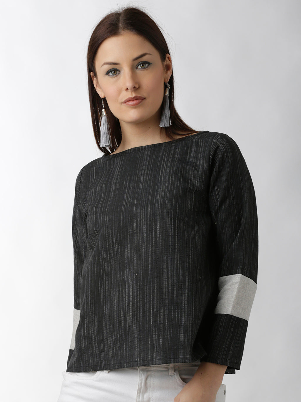 Breya Statement Sleeve Solid Black Top