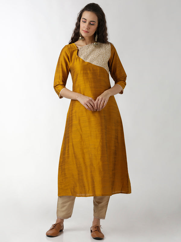 Embroidered Gold & Beige Kurta
