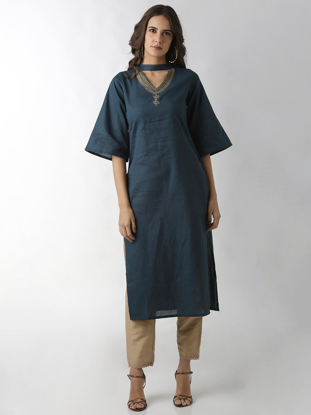 Breya Neck Embroidered Straight Grey Kurta