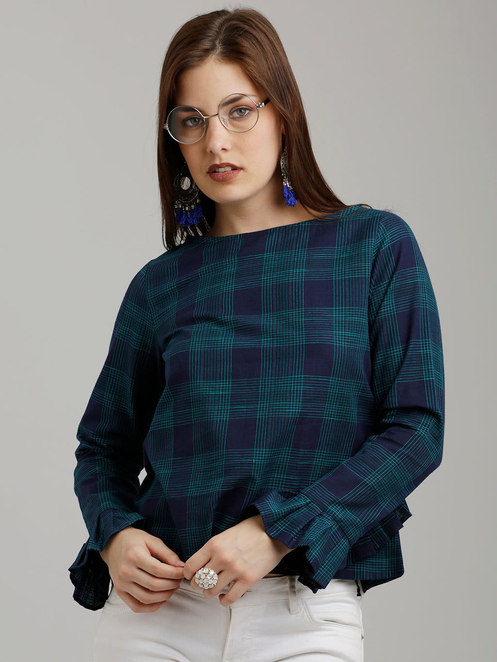 Breya Blue And Teal Checked Ruffled Sleeved Top