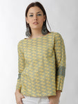 Breya Yellow And Sap Green Foliage Printed Top