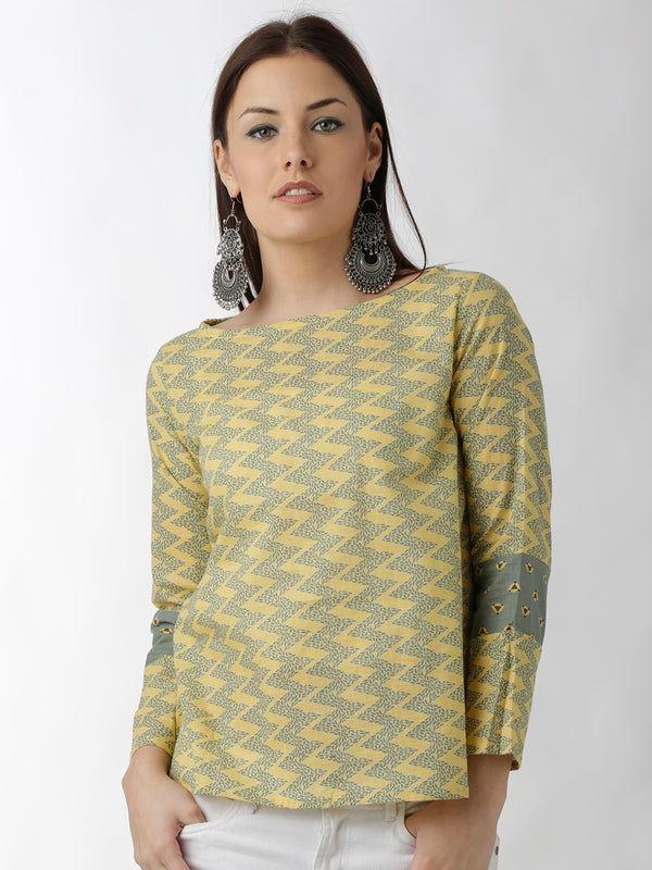 Yellow & Sap Green Foliage Printed Top