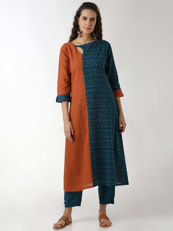 Rust & Blue Kurta