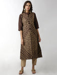 Breya Mandarin Collar Brown Embroidered A-Line Kurta