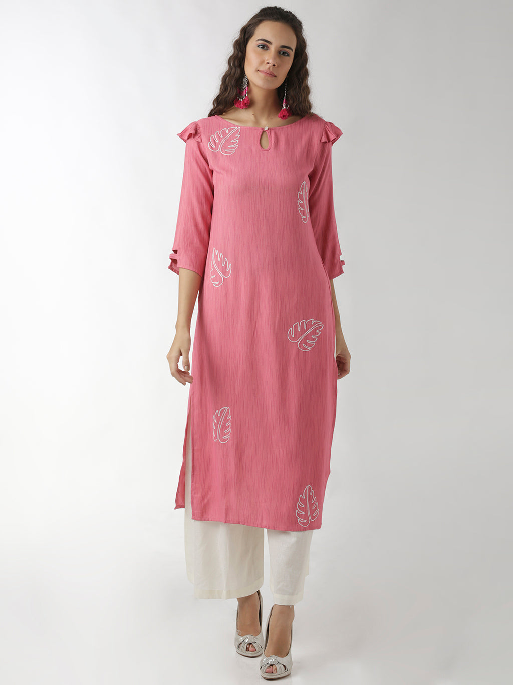 Breya Foliage Embroidered Pink Straight Kurta