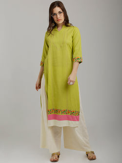 Colourful Embroidered Green Kurta