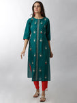 Breya Roundneck Embroidered Green Straight Kurta